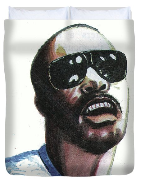 Stevie Wonder Duvet Cover by Emmanuel Baliyanga