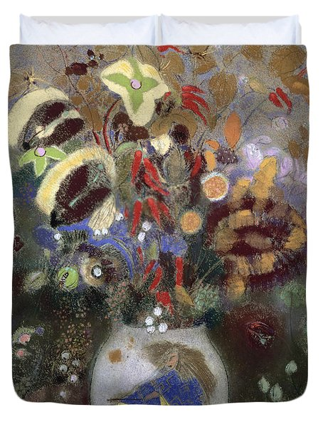Still Life Of A Vase Of Flowers Duvet Cover by Odilon Redon