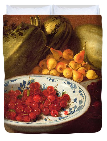 Still Life Of Cherries - Marrows And Pears Duvet Cover by Italian School