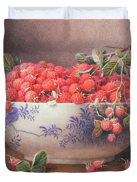 Still Life Of Raspberries In A Blue And White Bowl Duvet Cover