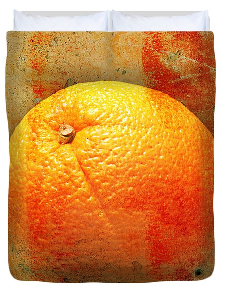 Still Life Orange Abstract Duvet Cover by Andee Design