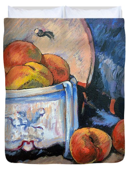 Duvet Cover featuring the painting Still Life Peaches by Tom Roderick