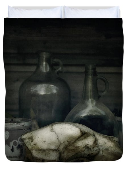 Still Life With Bear Skull Duvet Cover by Priska Wettstein