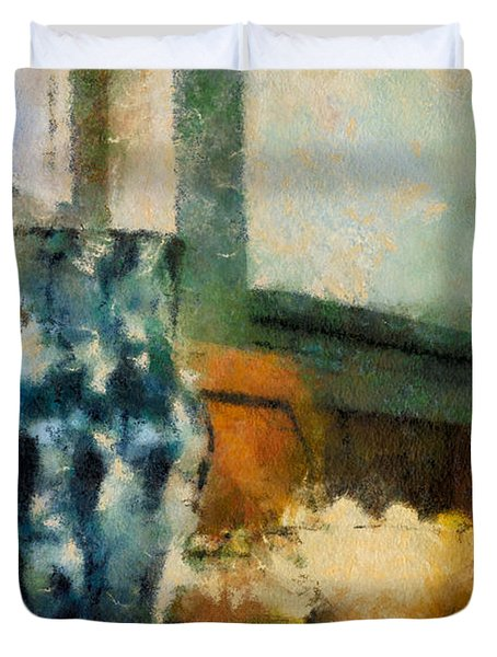Still Life With Blue Jug Duvet Cover by Lois Bryan