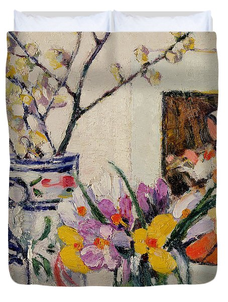 Still Life With Flowers In A Vase   Duvet Cover by Rowley Leggett