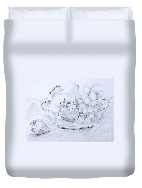 Still Life With Fruit Duvet Cover by Jan Bennicoff