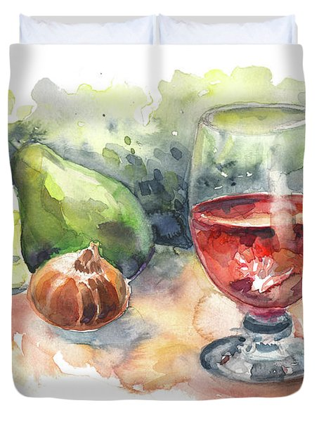Still Life With Red Wine Glass Duvet Cover by Miki De Goodaboom