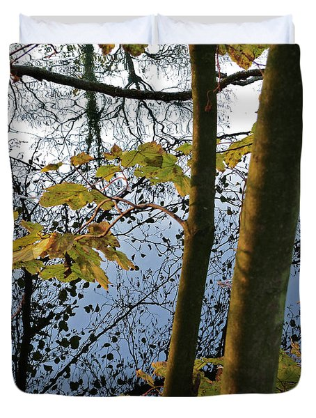 Duvet Cover featuring the photograph Still Waters In The Fall by Andy Prendy