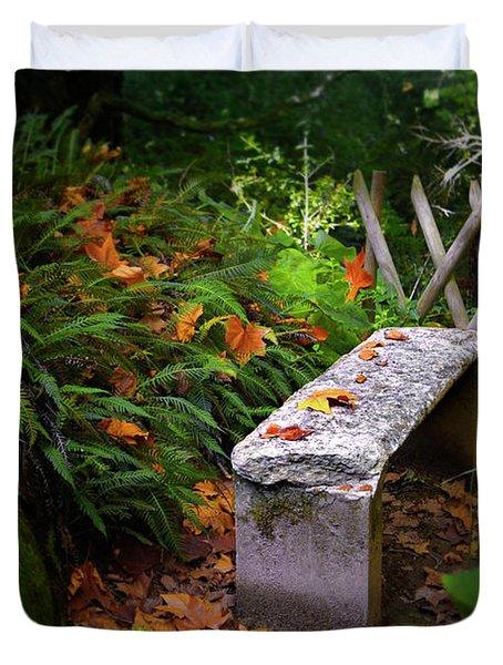 Stone Bench Duvet Cover by Carlos Caetano