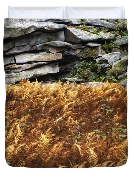 Stone Wall And Fern Duvet Cover