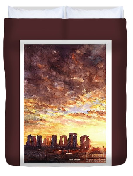 Stonehenge Sunrise Duvet Cover by Ryan Fox