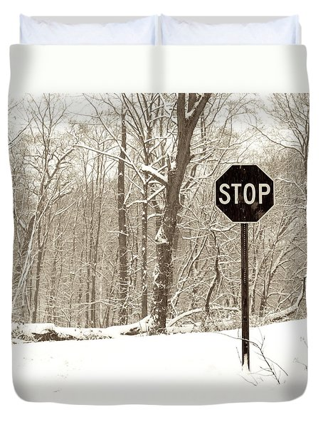 Stop Snowing Duvet Cover by John Stephens