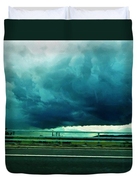 Duvet Cover featuring the digital art Storm Approaching  by Steve Taylor