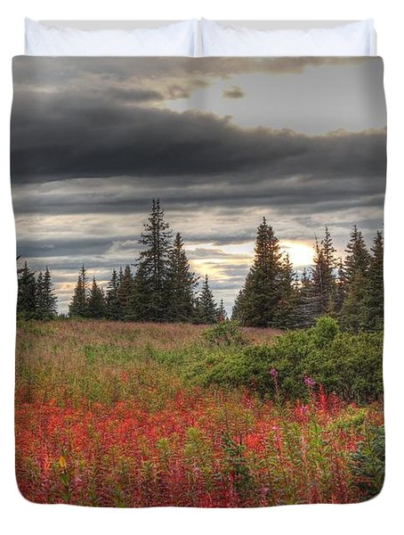 Duvet Cover featuring the photograph Storm Clouds In Fall by Michele Cornelius