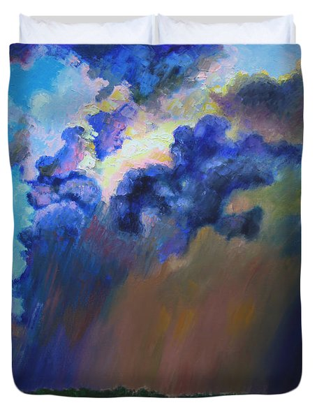 Storm Clouds Over Missouri Duvet Cover by John Lautermilch