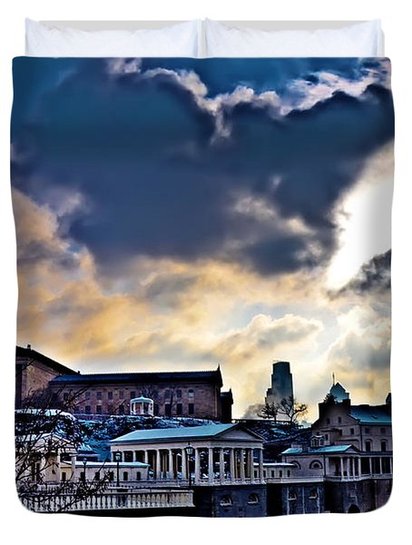 Storm Clouds Over Philadelphia Duvet Cover by Bill Cannon