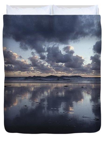 Storm Clouds Over Tidal Flat Duvet Cover