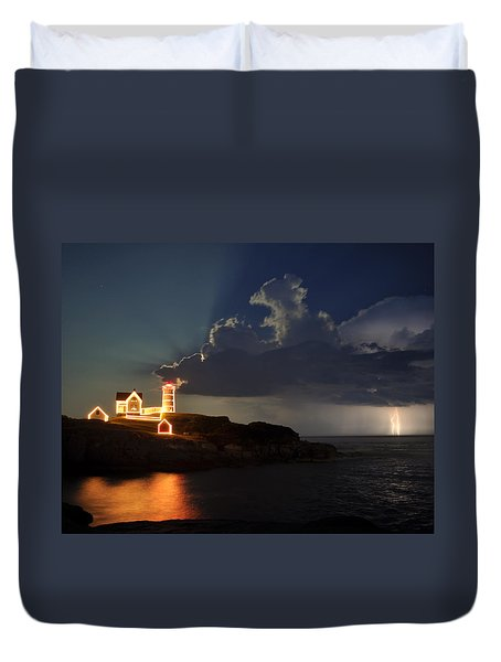 Storm Energizes The Lightning And The Lighthouse Duvet Cover by Rick Frost
