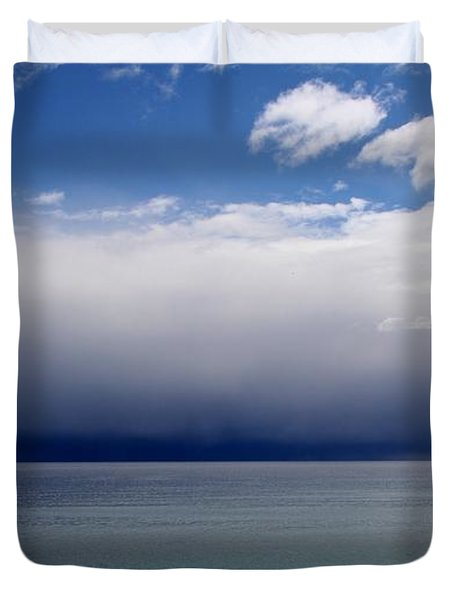 Duvet Cover featuring the photograph Storm On The Horizon by Davandra Cribbie