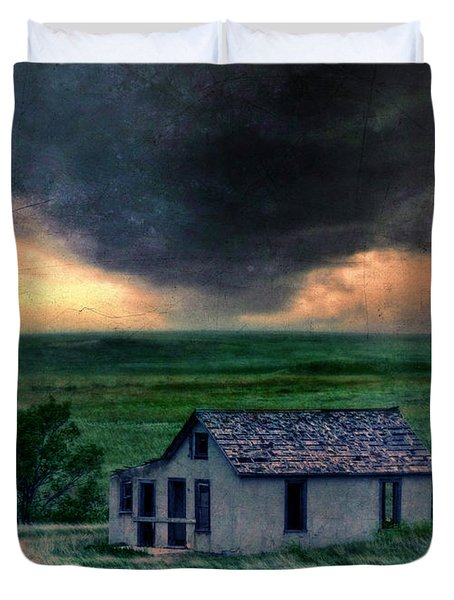 Storm Over Abandoned House Duvet Cover by Jill Battaglia