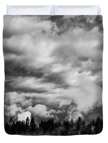 Storm Over Firehole Lake Drive Duvet Cover by Daniel Hagerman