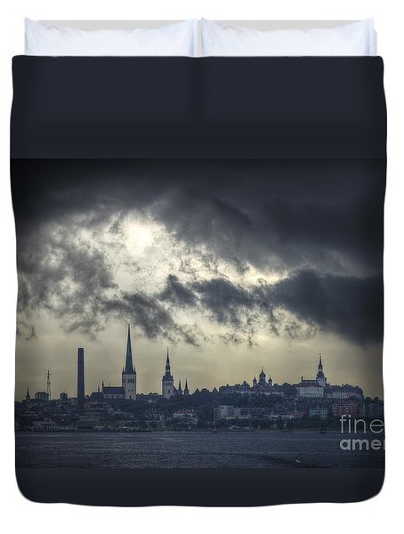 Duvet Cover featuring the photograph Stormy Tallinn. by Clare Bambers