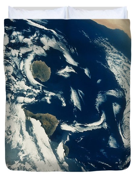 Stratus Cloud Formations Over Canary Duvet Cover by Nasa