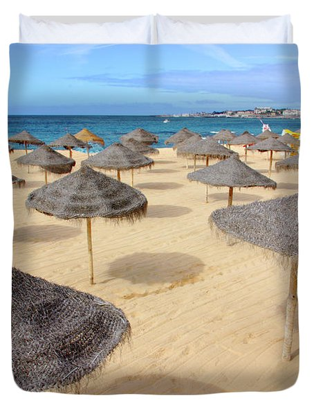 Straw Sunshades Duvet Cover by Carlos Caetano