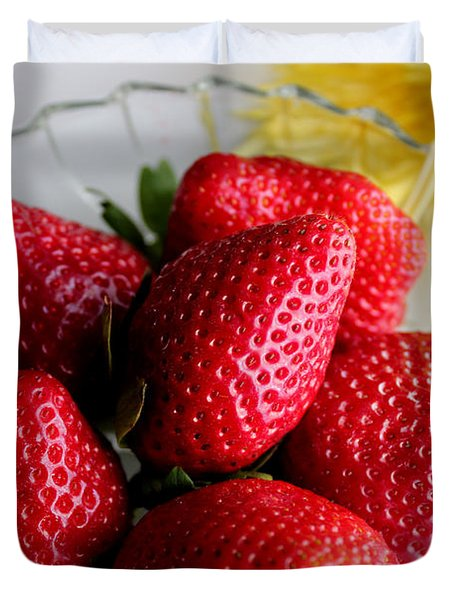 Strawberries And Yellow Mum Duvet Cover by Barbara Griffin