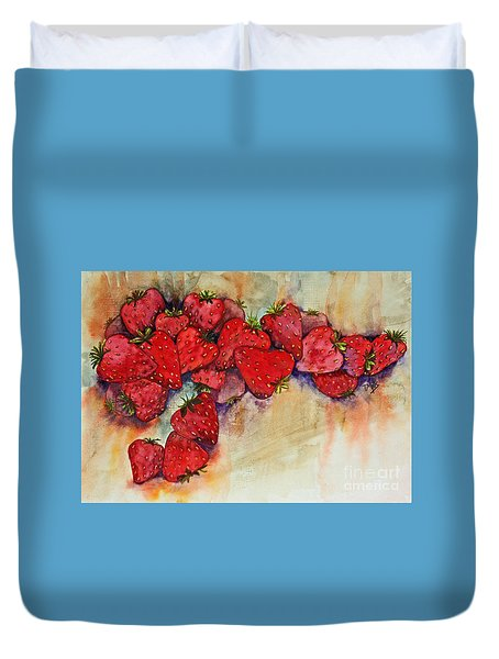 Duvet Cover featuring the painting Strawberries by Terri Mills