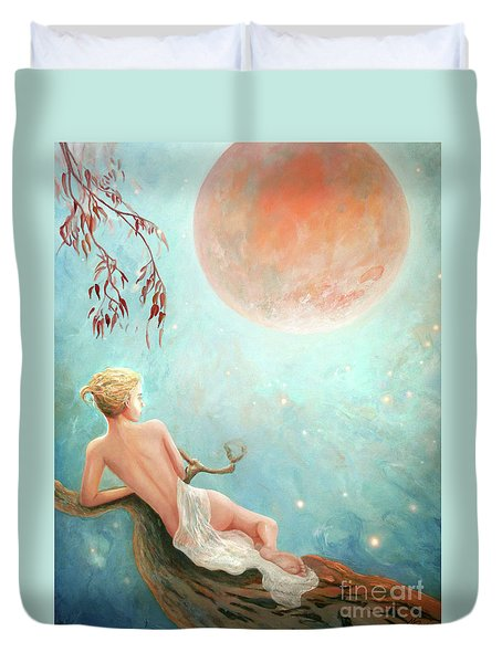 Strawberry Moon Nymph Duvet Cover by Michael Rock