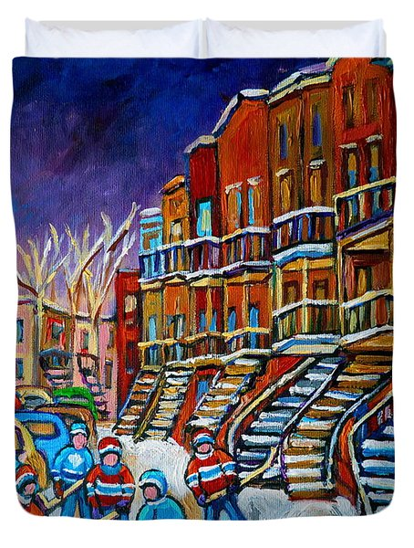 Street Hockey Game In Winter Duvet Cover by Carole Spandau