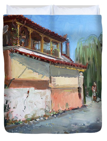 Street In A Greek Village Duvet Cover