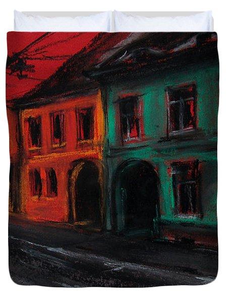 Street In Transylvania 1 Duvet Cover by Mona Edulesco