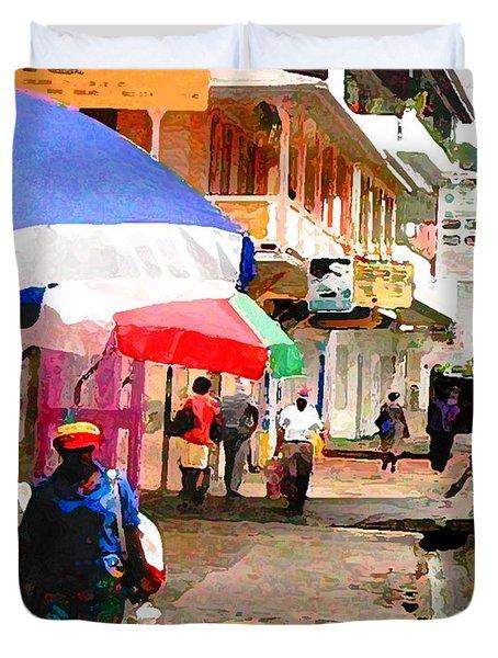 Street Scene In Rosea Dominica Filtered Duvet Cover