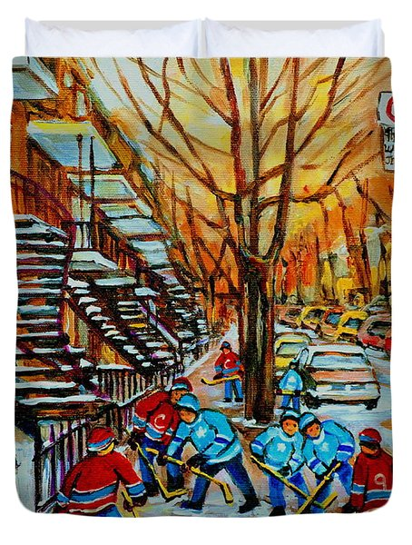 Streets Of Verdun Hockey Art Montreal City Scenes With Winding Staircases And Row Houses Duvet Cover by Carole Spandau
