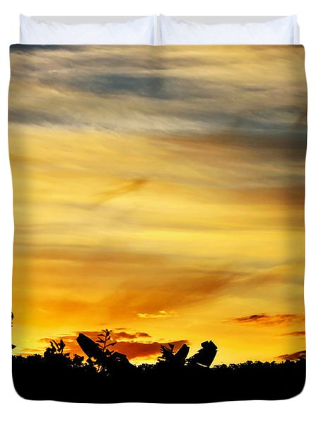 Stripey Sunset Silhouette Duvet Cover by Kaye Menner
