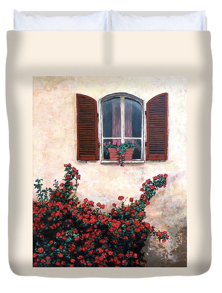 Duvet Cover featuring the painting Studio Window by Tom Roderick