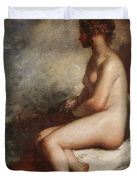 Study Of A Seated Nude Duvet Cover by William Etty