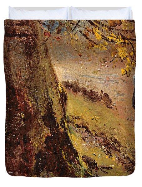 Study Of Tree Trunks Duvet Cover by John Constable