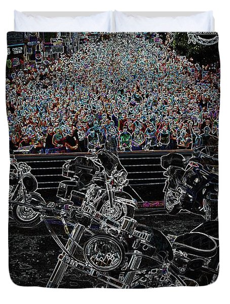 Duvet Cover featuring the photograph Stugis Motorcycle Rally by Anthony Wilkening