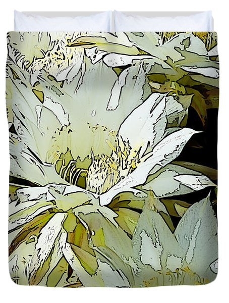 Stylized Cactus Flowers Duvet Cover by Phyllis Denton