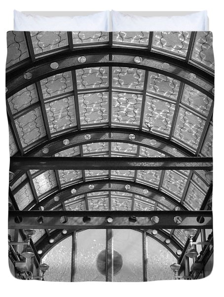 Subway Glass Station In Black And White Duvet Cover by Rob Hans