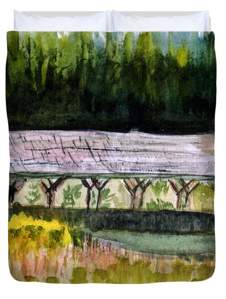 Sugar Mill Covered Bridge In Barton Vt Duvet Cover by Donna Walsh
