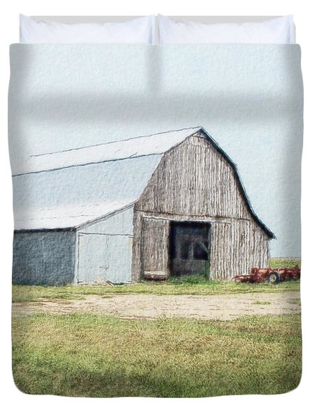 Duvet Cover featuring the digital art Summer Barn by Debbie Portwood