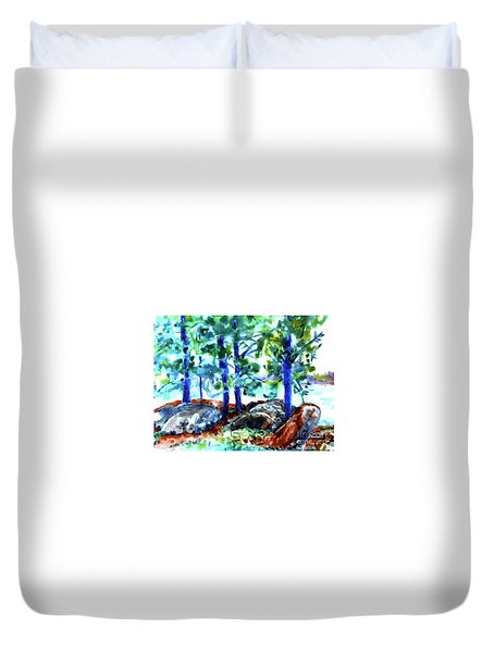 Summer By The Lake Duvet Cover by Jan Bennicoff