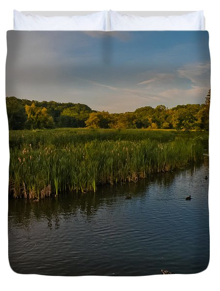 Summer Duck Pond Duvet Cover by Jiayin Ma