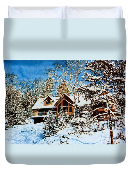 Duvet Cover featuring the painting Summer House Portrait In Winter by Hanne Lore Koehler