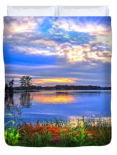 Duvet Cover featuring the photograph Summertime Walk Around Lake  by Randall Branham