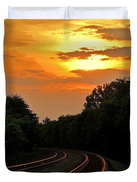 Sun Reflecting On Tracks Duvet Cover by Benanne Stiens